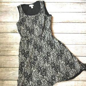 {LOFT} Floral Lace Fit & Flare Dress
